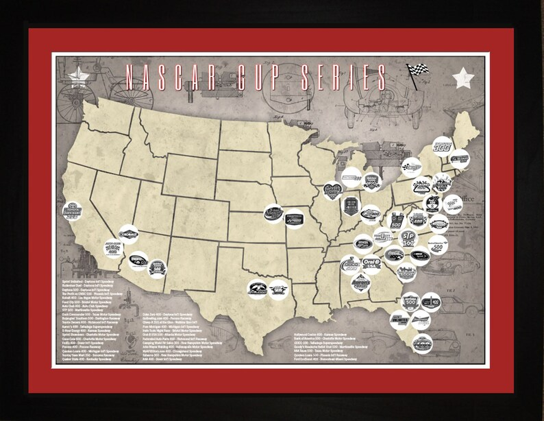 NASCAR Cup Racing Racetracks Races Tracking Map Print Gift | Etsy