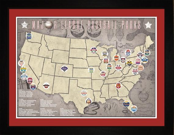 MLB Major League Baseball Parks Stadiums Pro Teams Location Map   Print  Gift Wall Art TBASE1824