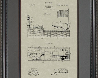Toy Bank Patent Artwork Banker Loan Officer Banking Gift B9049