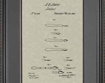 Scalpel Patent Art Wall Hanging Surgeon Doctor Gift S0696