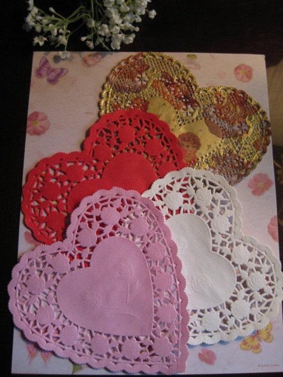 6 Inch Heart Pink White Red Gold Angel Cherub Crafts Etsy