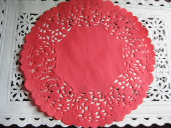 10 Pcs 8 Inch Round Red Paper Lace Doilies Craft Cards Etsy