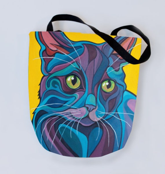 Czarny Kot Tote Bag Domowe Stenografia Kot Smoking Bombay Etsy