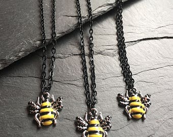 18 Inch Bee Charm Necklace, Bee Pendant, Bee Jewelry, Honey Bee Necklace, Bumble Bee Necklace, Insect Jewelry, Cute Gifts For Her, Teen
