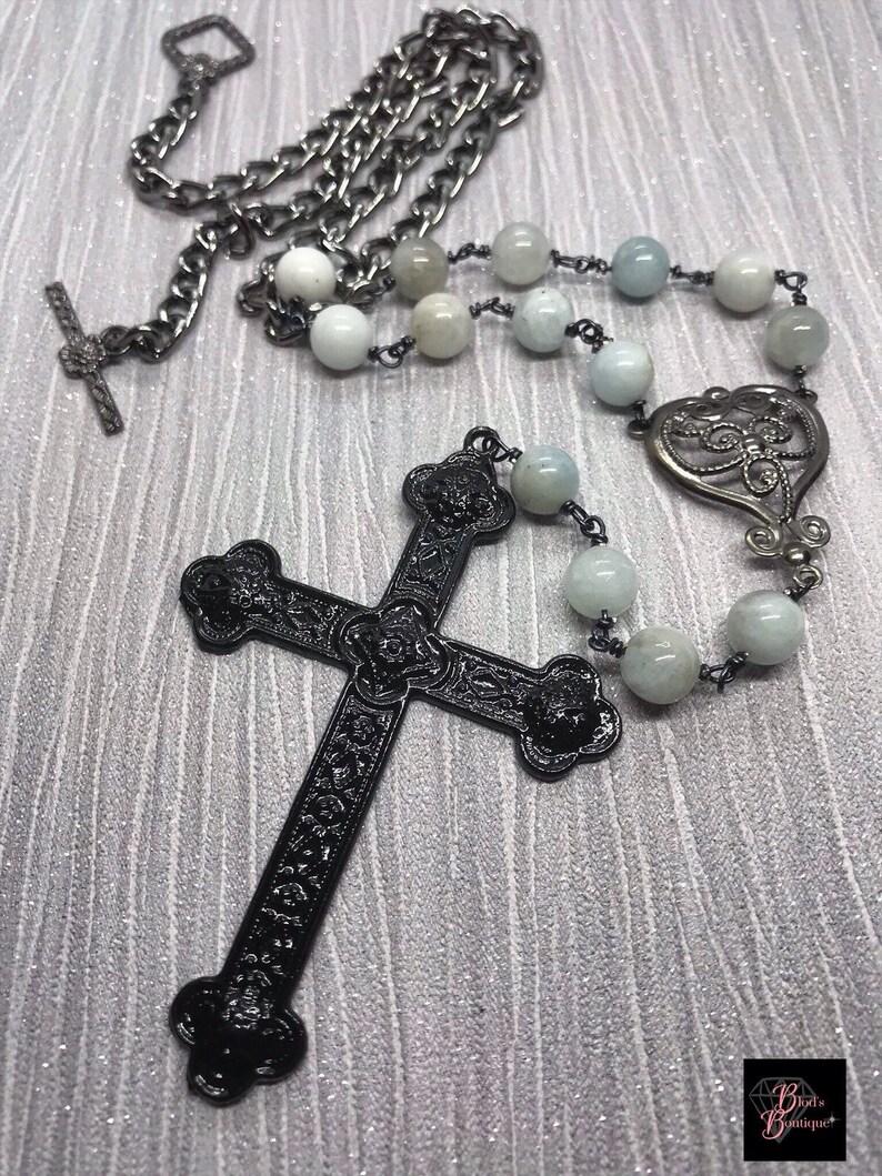 e9518eda06e Gothique chapelet collier perlé avec aigue marine pour hommes
