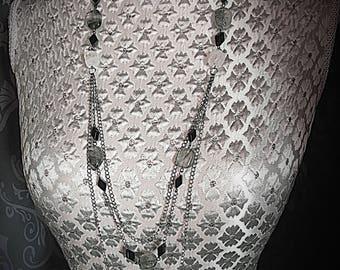Rutile Quartz Necklace, Multistrand Beaded Necklace, Multistrand Chain Necklace, Multistrand Necklace, Quartz Necklace, Gunmetal Necklace