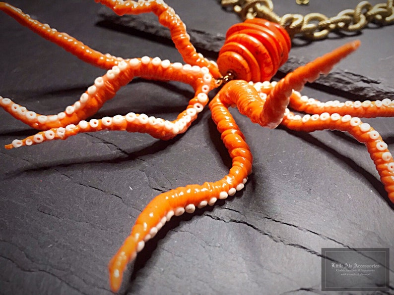 Funky Orange Octopus Statement Necklace With Rope Style Chain Kraken Sea Life Nautical Jewelry Animal Pendant
