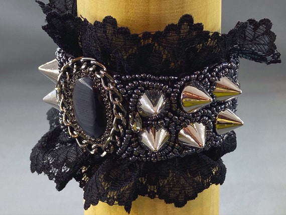 Gothic Studded Beadwork Cuff Jewelry Black Lace Beaded Cuff Bracelet for Women Victorian Style