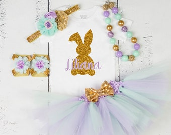 Baby Girl Easter Outfit, Personalized Easter Outfit, Easter Tutu Set, Bunny Easter Outfit, Easter Dress,First Easter Outfit