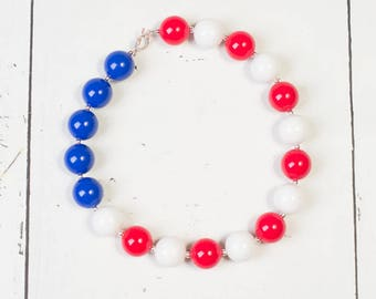 4TH OF JULY Chunky Bead Necklace,Red White Blue Bubblegum Necklace,Fourth of July Baby Necklace,Toggle Clasp Girls Necklace,Independence Day