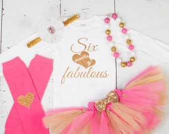 506a0d02 HALF BIRTHDAY Baby Girl Tutu Outfit,Six Month Photo Outfit,6 Month Birthday  Bodysuit,Headband,Necklace,Pink Gold Glitter Six Months Fabulous