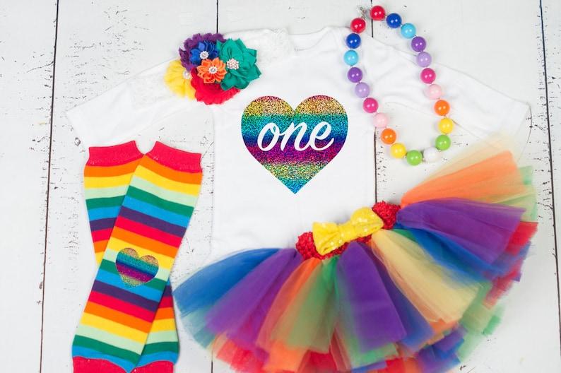 b22e08975 RAINBOW BABY First Birthday Tutu Set Rainbow Tutu Outfit