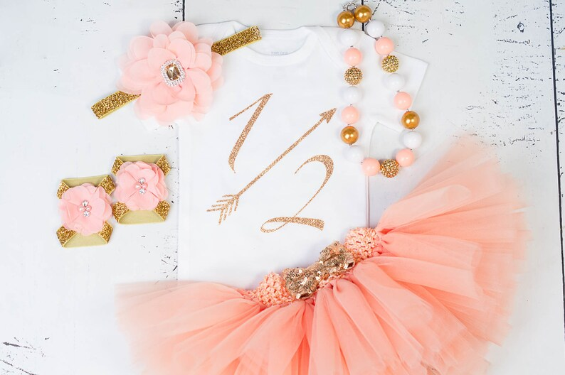 d5436940f HALF BIRTHDAY Baby Girl Tutu OutfitSix Months of Fabulous1 2