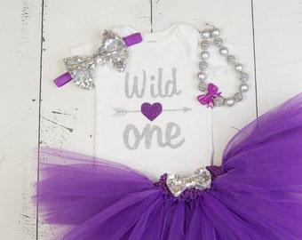 FIRST BIRTHDAY Baby Girl Tutu Outfit,Wild One Purple Silver 1st Birthday Glitter Cake Smash Photo Bodysuit,Shirt,Headband,Necklace with Bow