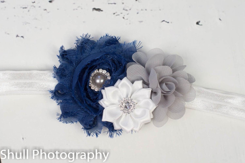 Navy blue flower headband navy grey white girls headband etsy zoom izmirmasajfo