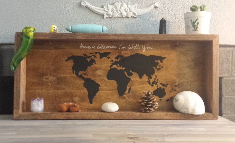 FREE SHIPPING Reclaimed shipping pallet, wood, black, world map and quote  shelves- wicca, rock collecton, witch, outdoor, adventure, travel