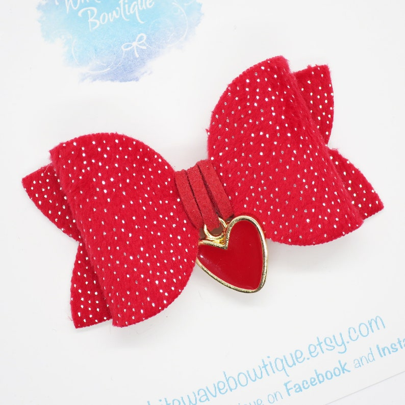Red hair slide Heart charm bow Velvet hair bow Valentines hair bow silver dots clip ponytail bows baby headband sparkly hair bow