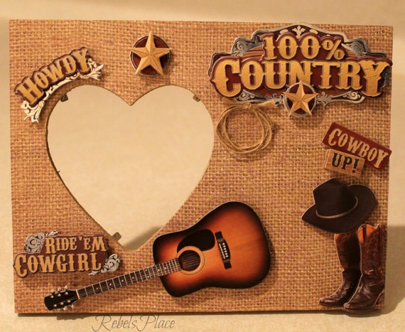 Country Cowboy/Guitar/Cowboy Boots/Handmade Picture Frame