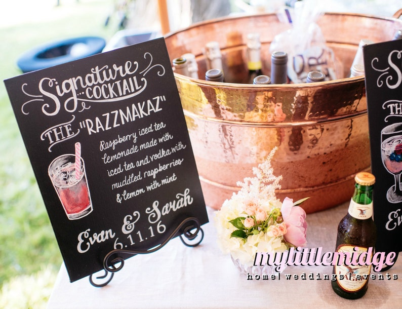NEW Sizes Available Personalized Hand Painted Signature Drink image 0