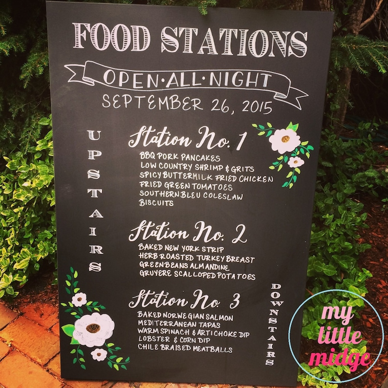 Hand Lettered Custom Hand Drawn / Painted Wedding Food Station image 0