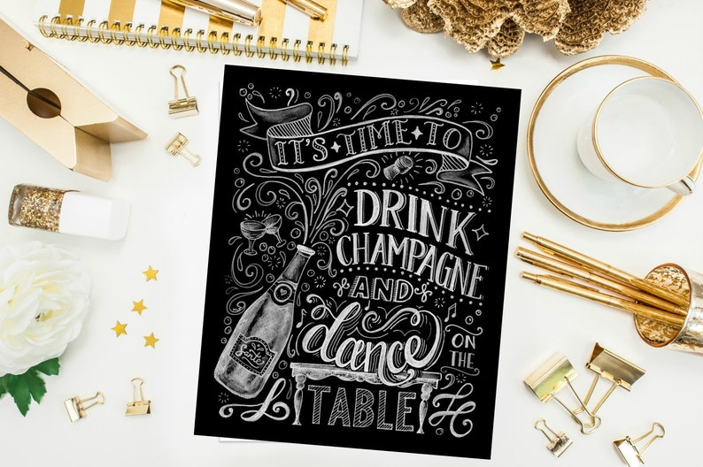 Drink Champagne and Dance on the Table ORIGINAL Artwork Print image 0