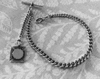 Watch Chain & Fob Sterling Silver Original  Victorian Single Albert   (104632E)