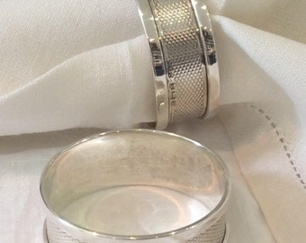 Napkin Rings Pair  English Silver 1939