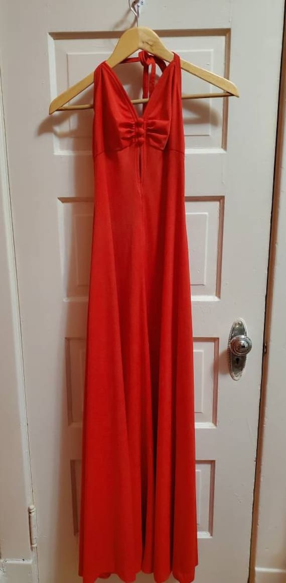 Lovely Red Disco Halter Top 1970s Maxi Dress