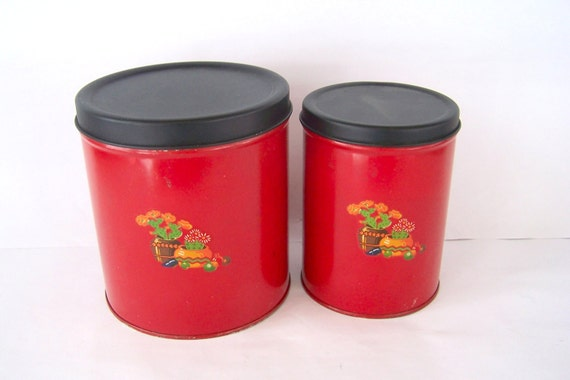 Lot of 2 Red Canisters with Decal, Housewares Box Container, Vintage Tins,  Kitchen Canister Set