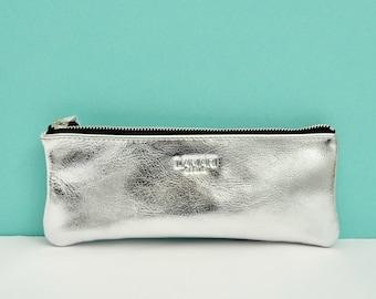 Leather zip pencil case,silver pencil case,Leather Pencil Case,silver pencil case, JUNE Silver