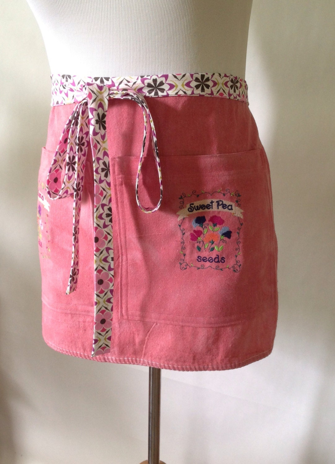Garden Apron, Apron With Pockets, Drop Cloth, Embroidered Apron, Sweet Pea,  Impatiens, Utility Apron, Pink Apron