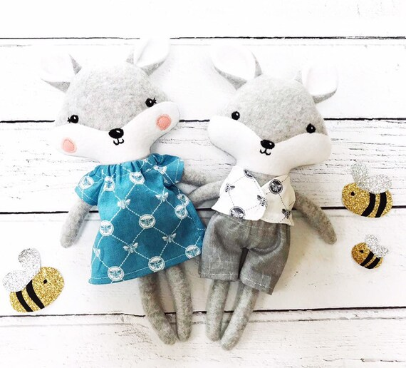 Adorable little fox toys dress up soft toys baby shower gifts stuffed animals gifts for toddlers new baby gift soft toy bees