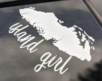 """Vancouver Island Car Sticker//Decal 5/"""" Various Colours"""