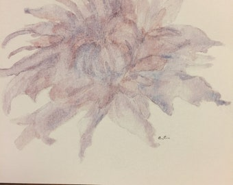 Note Card - Print of an Original Watercolor Painting of a Spider Mum