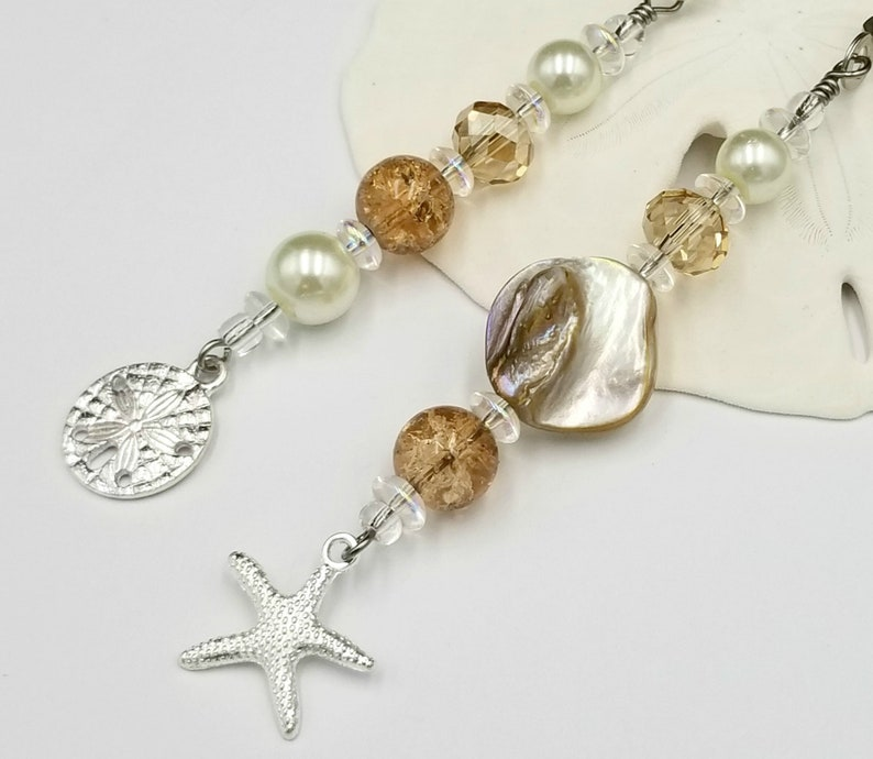 Ceiling Fan and Light Pull Chains with Starfish and Sand image 0