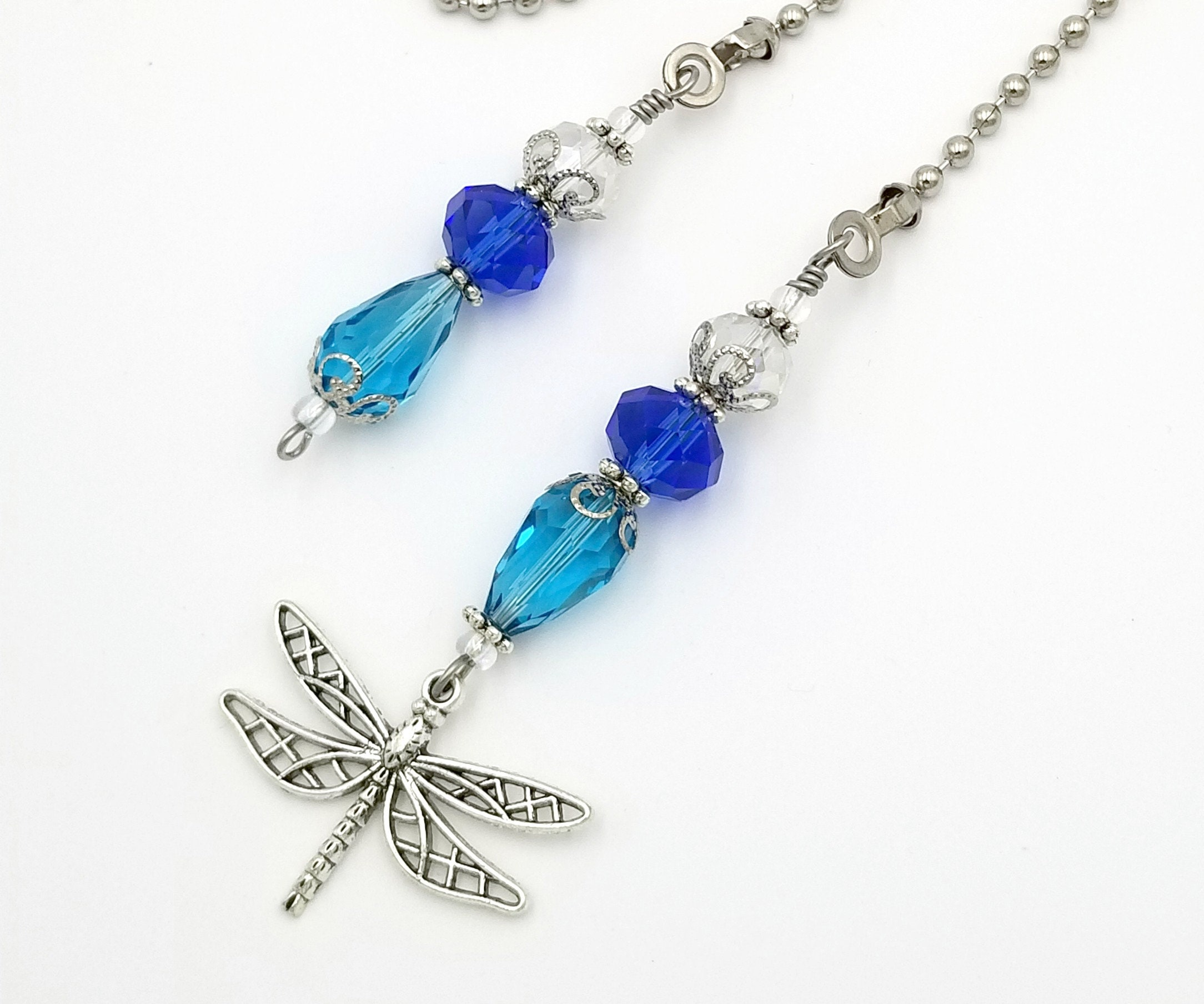 Dragonfly Charm Glass Beaded Ceiling Fan And Light Pull Etsy