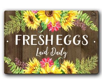 Fresh Eggs Chicken Sign, Cute chicken coop decor, Chicken Lady Gift, Chicken Coop Sign, Floral Farmhouse Sign, Sunflower Chicken Sign