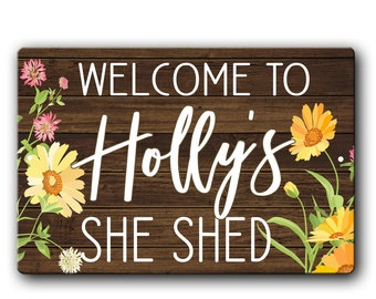 She Shed Personalised Wooden Sign Plaque Name Gifts For Her Workshop Mum Sister