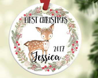 Christmas Ornament for Girl  Baby's First Christmas ornament  Deer Ornament  Personalized Children's Ornament  Baby's 1st Christmas  CO24