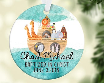 Baptism Gift for Boy God Bless Personalized Baptism Ornament Gift for Godchild Christmas Ornament Gift from Godparents Baby Dedication Gift