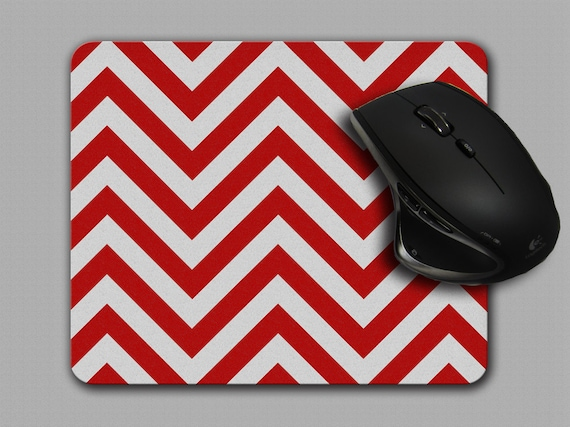 Mouse Pad Red And White Chevron Mousepad Office Decor MP 032 | Etsy