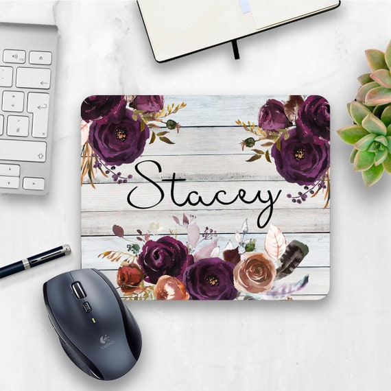 Purple Floral Mouse Pad Country Chic Office Decor Rustic Office Personalized Mouse Pad Personalized Office Gift Home Office Mouse Mat