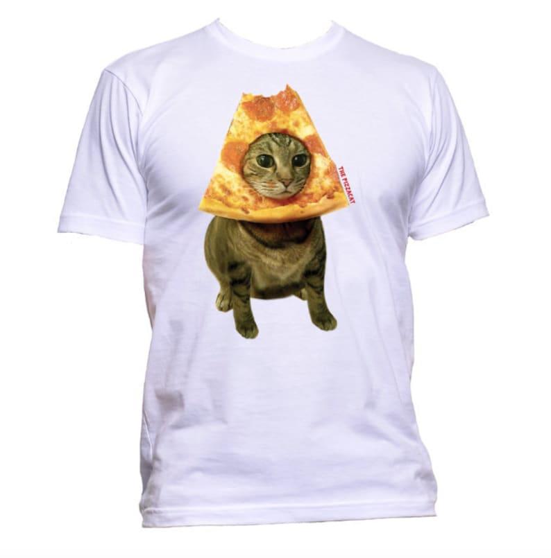 The Original Pizza Cat T-Shirt l Men's t shirt Cat Pizza White
