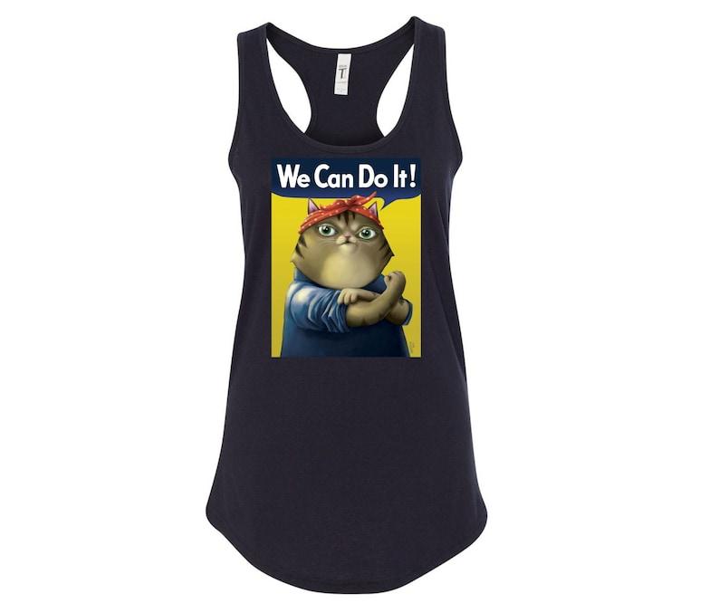 We Can Do it Cat Tank Top Women's Racerback Tank Top cat Black