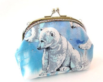 Polar bear frame coin purse blue white cotton fabric with silver kiss lock clasp frame clutch bag ice bear pouch