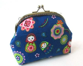 Matryoshka purse, russian doll frame bag, blue makeup bag, kiss lock clasp bag, silver purse frame