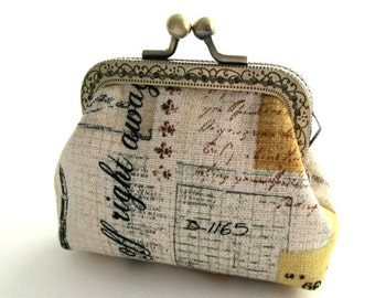 Romantic frame coin pouch with black yellow writing cotton linen fabric, bronze kiss lock clasp purse metal purse frame