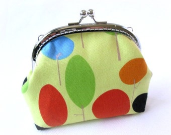 Frame purse colorful trees on light green cotton - silver kiss lock clasp bag, frame clutch blue, orange, green frame pouch, frame coin bag