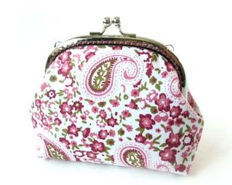 Paisley purse, pink flower frame bag, pink makeup bag, kiss lock clasp bag, silver purse frame