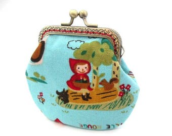 Little red riding hood pouch, cotton fabric, bronze kiss lock clasp purse, metal frame change purse, fairytale frame pouch